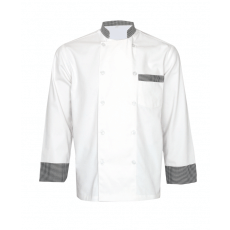 White Chef Coat with Checked Collar & Cuff