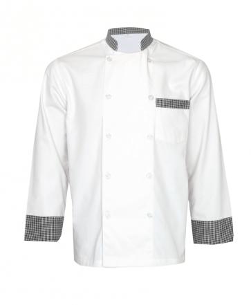 White Chef Coat with Checked Collar & Cuff