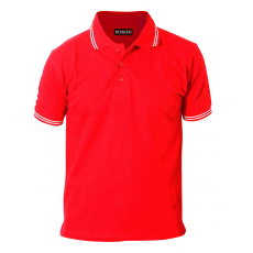 Red with white tipping on collar & cuff polo t shirt 1