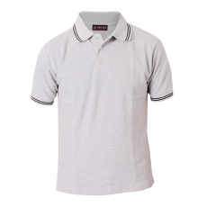 Grey melange collared shirt with black tipping on collar & cuff
